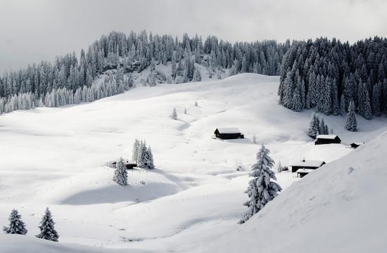 Verschneite Landschaft im Salzkammergut